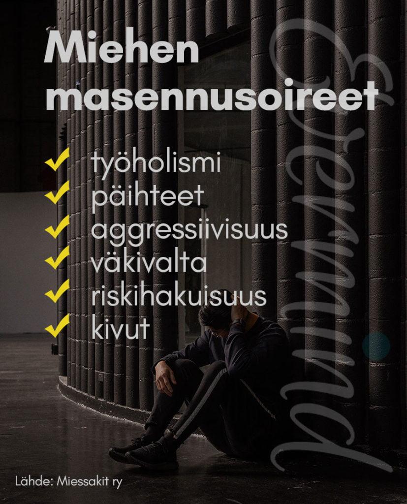 Masennuksen oireet miehillä