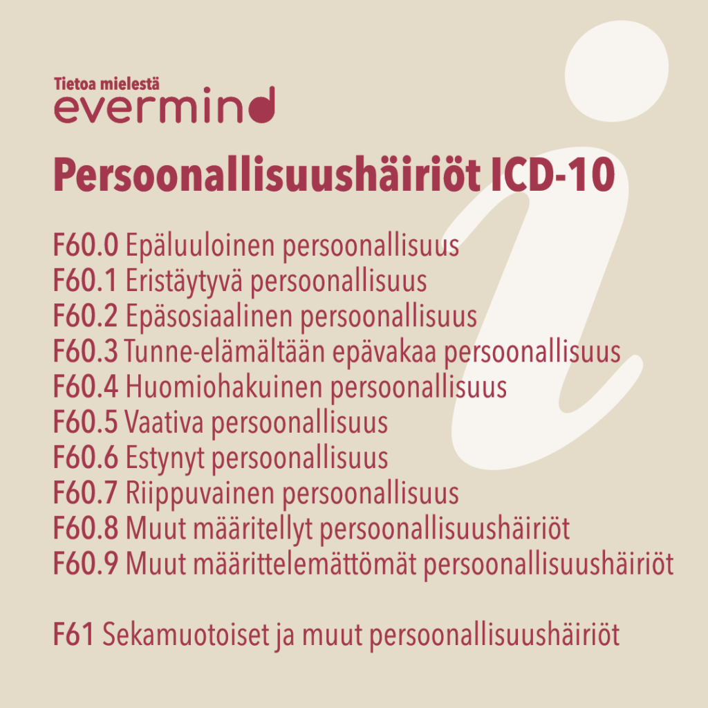 Persoonallisuushäiriöt ICD-10-luokituksen mukaan